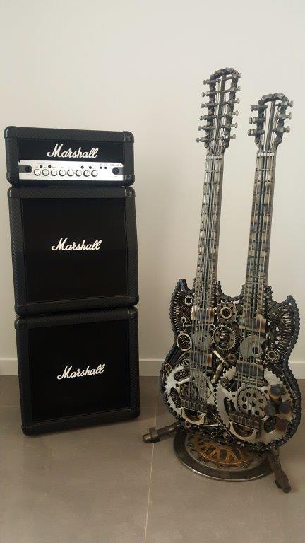 Welded metal guitar sculptures