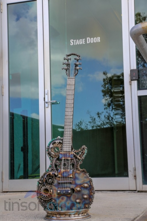 Welded metal guitar sculptures