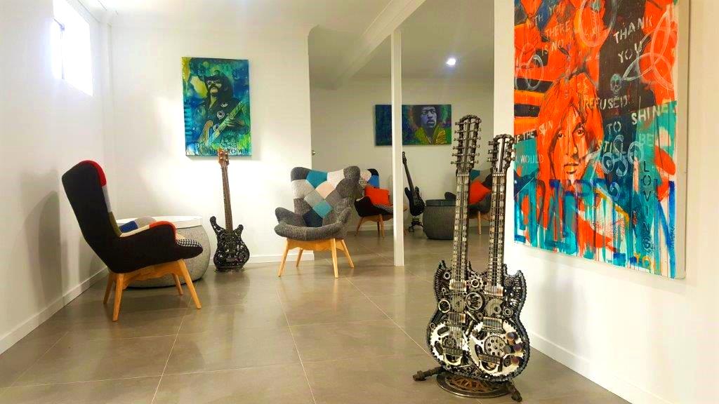 Welded metal guitar sculptures by Brisbane 3D Artist Paul Tinson